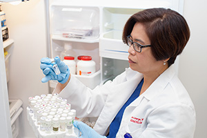Fellow Cora Astorga, MD, conducts research in the laboratory of Pamela Kling, MD, whose work focuses on the developmental and nutritional regulation of red blood cell production.