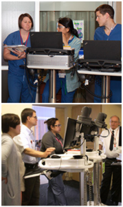 Fellows gain clinical experience at UnityPoint Health Meriter Hospital's 42 -bed Level III NICU (above, top) and American Family Children's Hospital's 26-bed Level IV NICU (above, bottom).