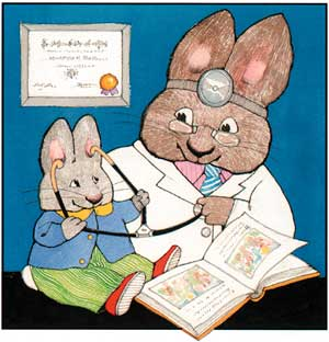 Reach Out and Read Bunny cartoon