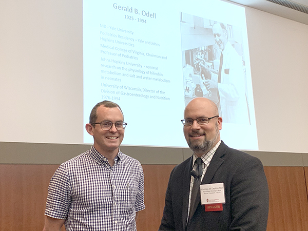 Gerard P. Odell Research Award winners David McCulley, MD, and Christian Capitini, MD, both spoke at Research Week.