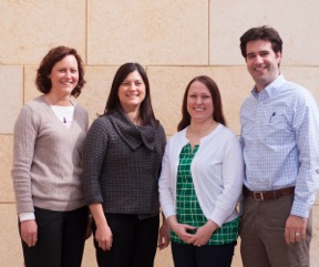The Pediatric Complex Care team, from left: Kristan Sodergren, NP; Mary Ehlenbach, MD; Teresa Wagner, RN; Ryan Coller, MD, MPH.
