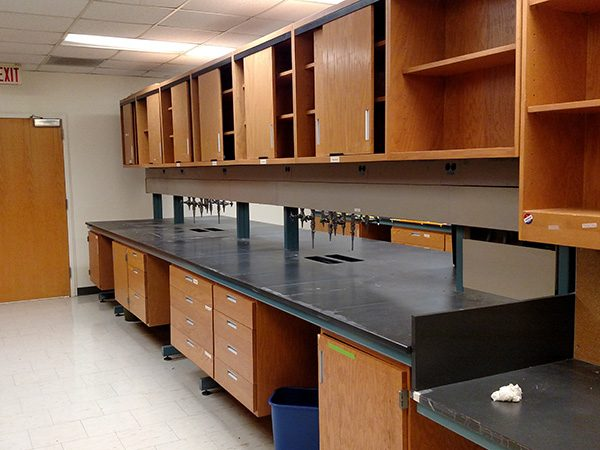 Original lab furnishings with old cabinets and bench tops