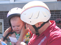Even the youngest riders got their helmets checked.