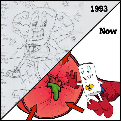 Above: Iggy the Inhaler in 1993 (drawn when Dr. Thomas was 12), and today. Dr. Thomas says the educational comic helps him balance his love of art with his medical practice.