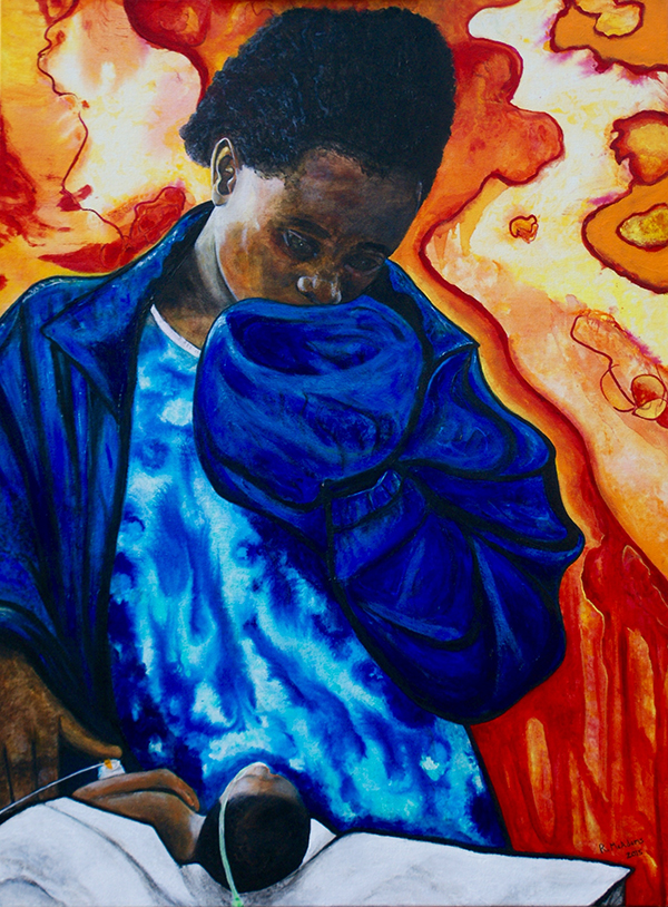 "Dr. McAdams' painting The Girl in Blue and Her Dying Newborn honors a teenaged Ugandan mother and her baby boy, who died the day after Dr. McAdams cared for him. It and an accompanying poem ""Girl Mother Blue"" were published in the May 2016 issue of Academic Medicine."