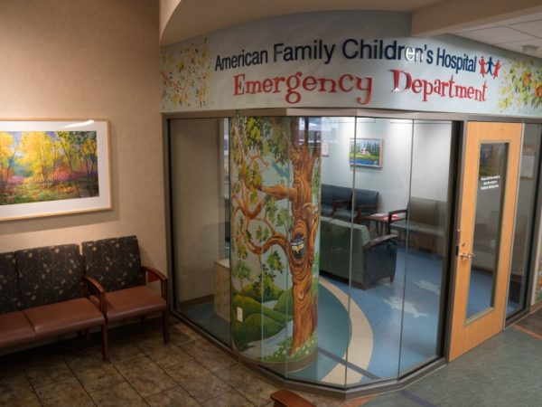 The renovated American Family Children's Hospital Emergency Department has a separate, enclosed waiting area.