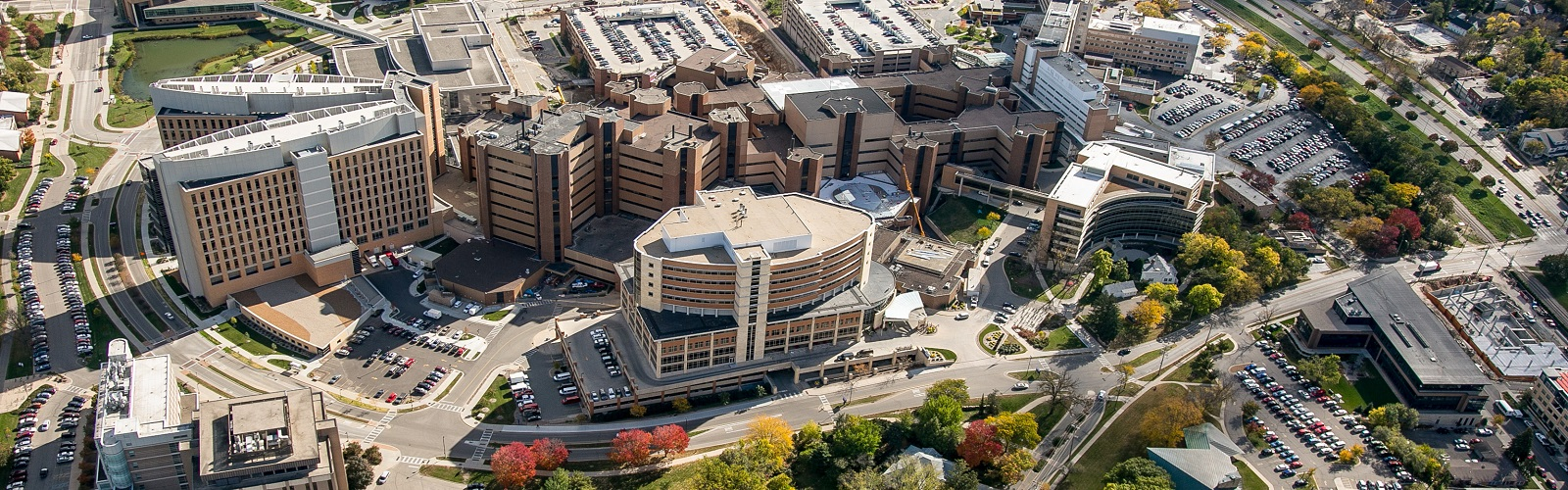 aerial view of the medical school campus
