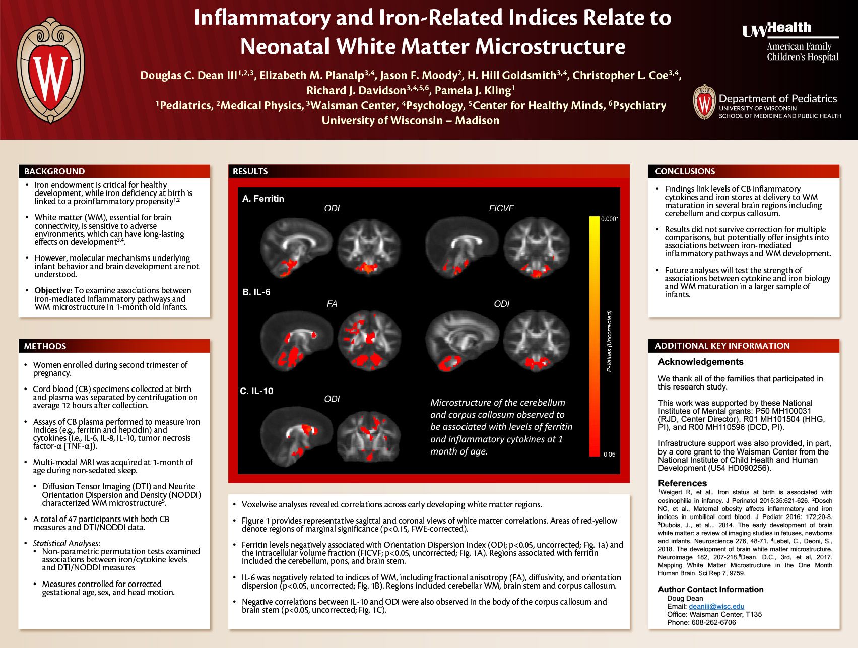 Inflammatory and Iron-Related Indices Relate to Neonatal White Matter Microstructure poster image
