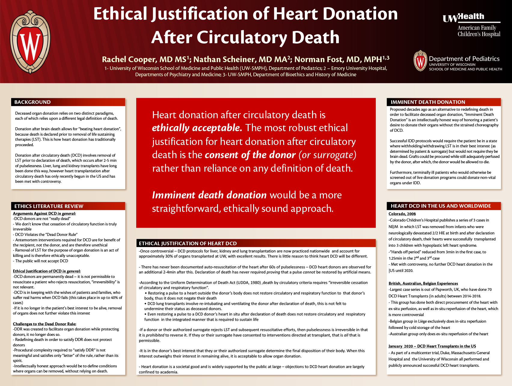 Ethical Justification of Heart Donation after Circulatory Death and Implications for the Future of Organ Transplantation poster image