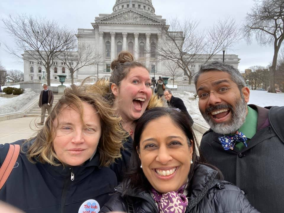 GPAM Drs Mala Mathur, Dipesh Navsaria, and Paula Cody in front of the WI State capital during the WI AAP Advocacy Day