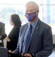 James Conway, MD, professor, Global Pediatrics and Infectious Diseases, during a press conference in 2020.